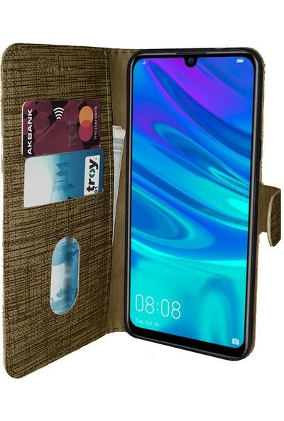 Samsung Galaxy A30 Kılıf FitCase Fabric Kapaklı Cüzdanlı - Gold