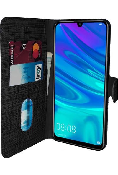 Huawei Y7 2019 Kılıf FitCase Fabric Kapaklı Cüzdanlı - Siyah