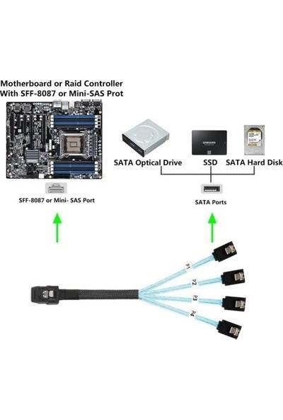 Alfais 4352 Mini Sas SFF-8087 36 Pin To 4 Port Sata 7p Çevirici Çoklayıcı Kablo