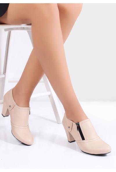 Tarçın Deri Bej Günlük Kadın Topuklu Ayakkabı Trc50-1069