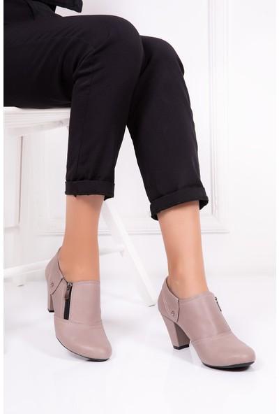 Tarçın Deri Dark Stone Günlük Kadın Topuklu Ayakkabı Trc50-1069