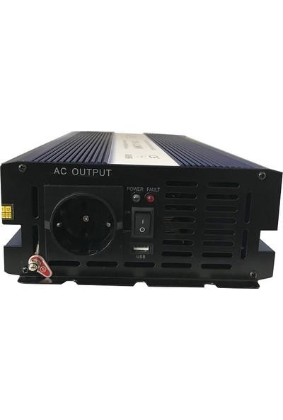 Şarj Kontrolörlü Tam Sinüs Inverter 2000 Watt 12 Volt