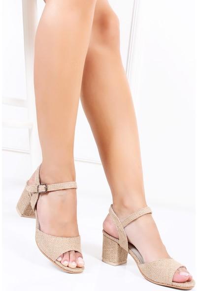 Tarçın Hasır Deri Günlük Kadın Topuklu Sandalet Trc130-7065