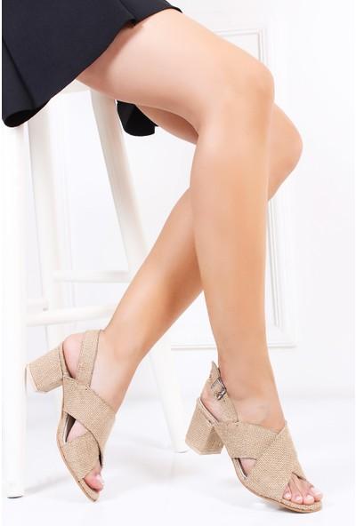 Tarçın Hasır Deri Günlük Kadın Topuklu Sandalet Trc130-7066