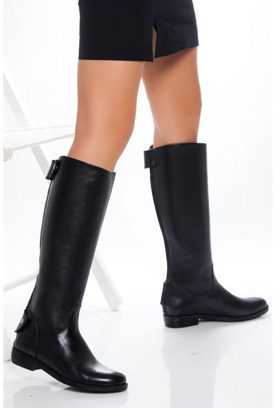 Tarçın Deri Siyah Günlük Kadın Çizme Trc49-6001