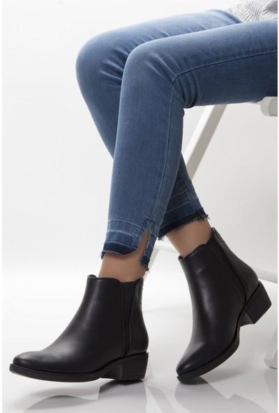 Tarçın Deri Siayah Günlük Kadın Topuklu Bot Trc49-W107