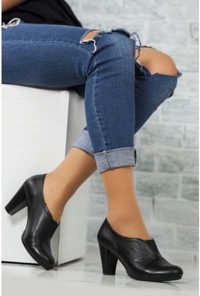 Tarçın Deri Siyah Günlük Kadın Topuklu Ayakkabı Trc50-1072