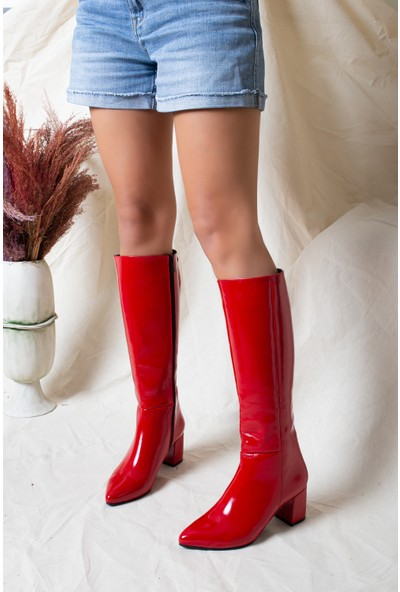 Tarçın Deri Kırmızı Kırışık Rugan Günlük Kadın Topuklu Çizme Trc102-0404