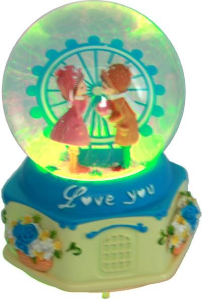 Hediye Biziz Lunapark Love You Işıklı ve Müzikli Kar Küresi Orta Boy Mavi
