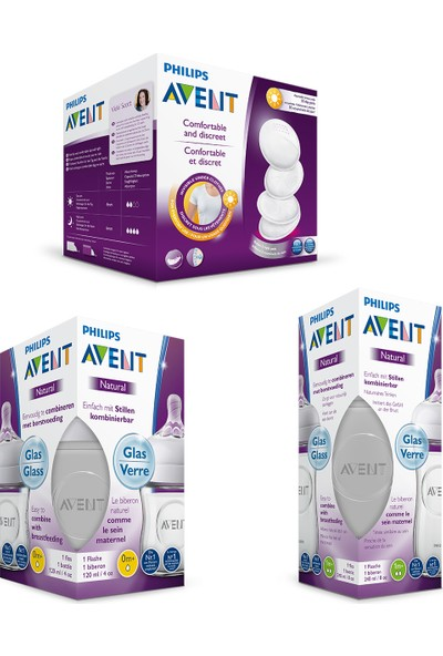 Philips Avent Natural Cam Biberon Seti 2'li (240 ml + 120 ml)+ 30'lu Göğüs Pedi