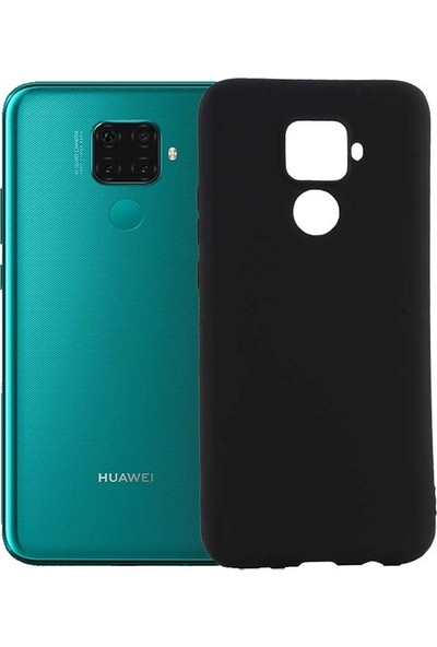 Tekno Grup Huawei Mate 30 Lite Kılıf Mat Premium Silikon Kılıf - Siyah + Nano Ekran Koruyucu