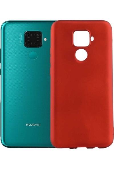 Tekno Grup Huawei Mate 30 Lite Kılıf Mat Premium Silikon Kılıf - Kırmızı + Tam Kaplayan 6D Nano Ekran Koruyucu