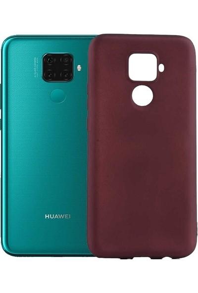 Tekno Grup Huawei Mate 30 Lite Kılıf Mat Premium Silikon Kılıf - Bordo + Tam Kaplayan 6D Nano Ekran Koruyucu