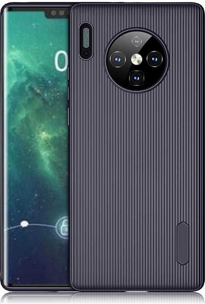 Tekno Grup Huawei Mate 30 Pro Kılıf Mat Silikon Çizgili Tio Arka Kapak Silikon - Lacivert
