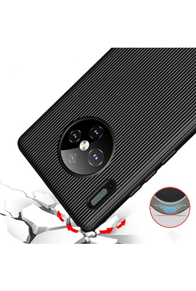 Tekno Grup Huawei Mate 30 Pro Kılıf Mat Silikon Çizgili Tio Arka Kapak Silikon - Kırmızı + Tam Kaplayan Cam Ekran Koruyucu