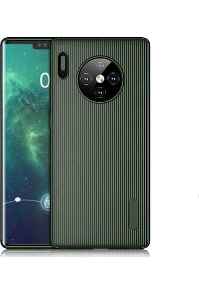 Tekno Grup Huawei Mate 30 Pro Kılıf Mat Silikon Çizgili Tio Arka Kapak Silikon - Koyu Yeşil + Tam Kaplayan Cam Ekran Koruyucu