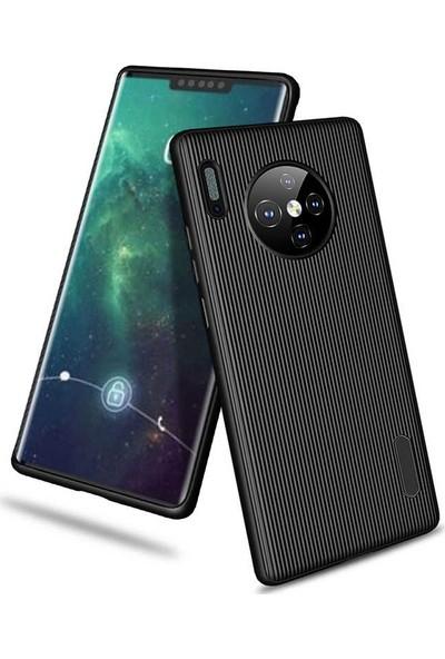 Tekno Grup Huawei Mate 30 Pro Kılıf Mat Silikon Çizgili Tio Arka Kapak Silikon - Siyah + Tam Kaplayan 6D Nano Ekran Koruyucu