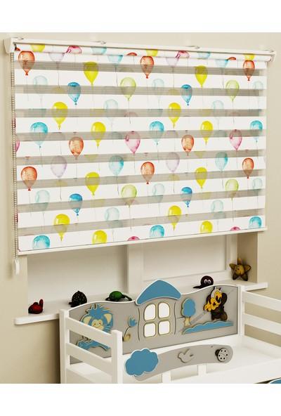 Sezerler Perde Baskılı Zebra Perde Renkli Balon 60 x 200 cm