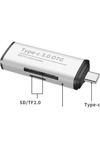 Ally ADS-103 USB Type-C SD/TF Hafıza Kart Okuyucu - Gümüş