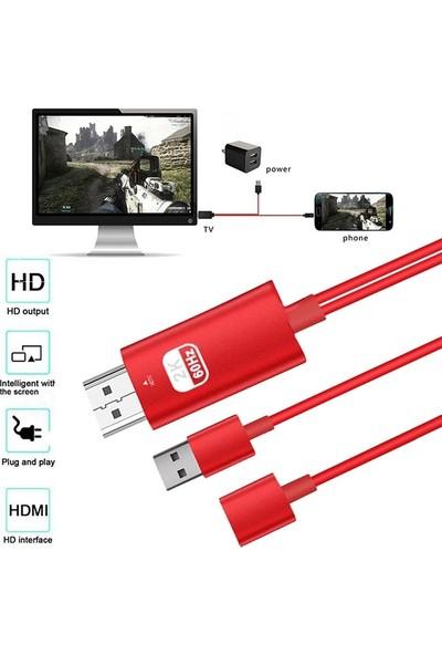 Ally AL-31239 Lightning Type-C HDMI Kablosu - Kırmızı