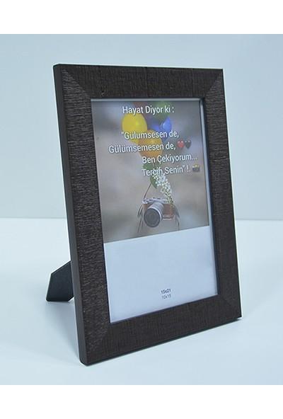 Hediyelik Çerçeve Dekorasyon Kişiye Özel Resim Çerçevesi Mdf-Baskı-Ev-Ofis-Okul-Doğumgünü-15X21 Çerçeve Kahve