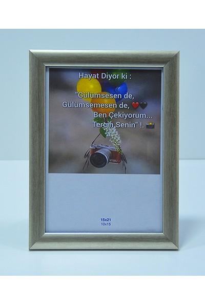 Hediyelik Çerçeve Dekorasyon Kişiye Özel Resim Çerçevesi Mdf-Baskı-Ev-Ofis-Okul-Doğumgünü-15X21 Çerçeve Gümüş renk