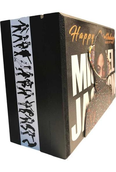Adazra Design Michael Jackson Happy Birthday Kabartma Hediyelik Ahşap Kutu