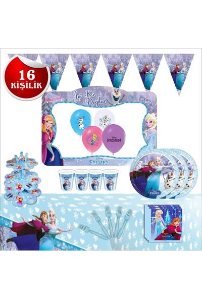 Bayhesaplı Elsa Frozen Karlar Ülkesi Doğum Günü Parti Seti 16 Kişilik Çerçeveli