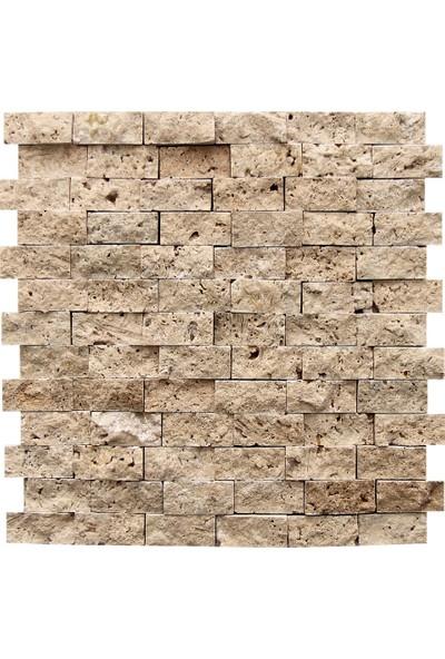 Doğal Dekor 23 x 48 cm Mermer Traverten Doğal Taş Patlatma Taş Kaplama Duvar Dekorasyonu