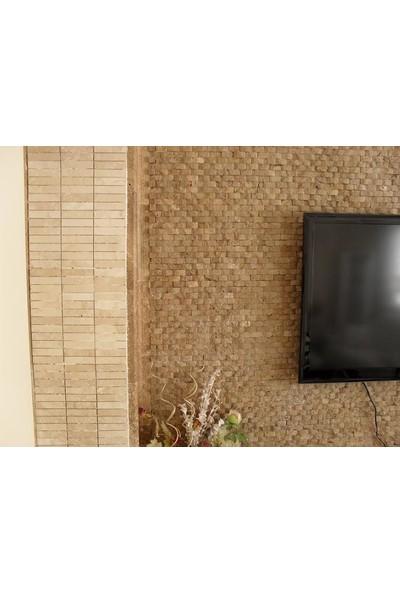 Doğal Dekor 23 x 48 cm Ceviz Mermer Traverten Doğal Taş Patlatma Taş Kaplama Duvar Dekorasyonu