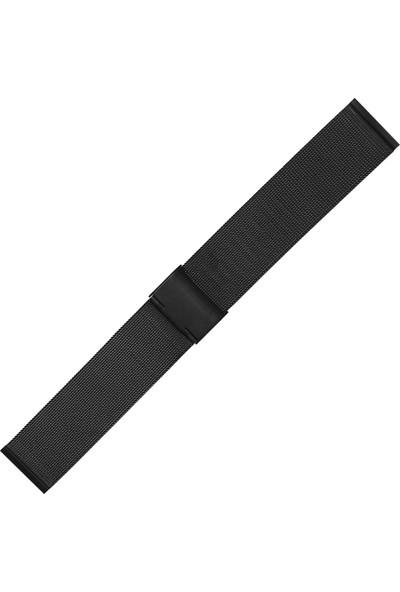 Chrono Siyah Hasır Paslanmaz Çelik Saat Kordonu 24Mm