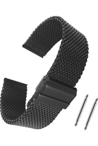 Chrono Siyah Kalın Hasır Paslanmaz Çelik Saat Kordonu 22Mm
