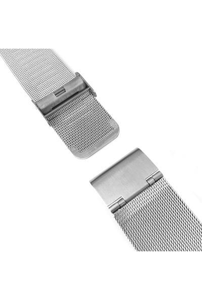 Chrono Metalik Gri Gümüş Renk Hasır Çelik Saat Kordonu 20Mm