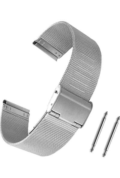 Chrono Metalik Gri Gümüş Renk Hasır Çelik Saat Kordonu 22Mm