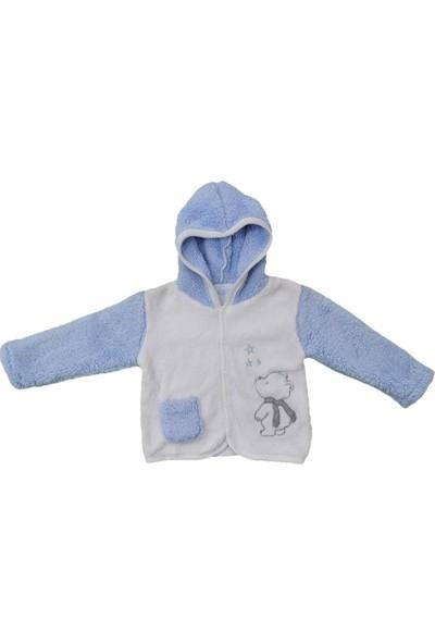 Premom PRE1014 Kapşonlu Bebek Ceketi Yıldızlı Ayıcık
