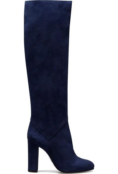 Nine West Xtra Mavi Kadın Topuklu Çizme