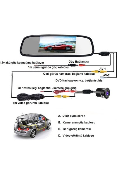 Dikiz Ayna Ekran 5.0 Inch 8 LED Eksiksiz Tam Set Geri Görüş Geri Vites Kamerası