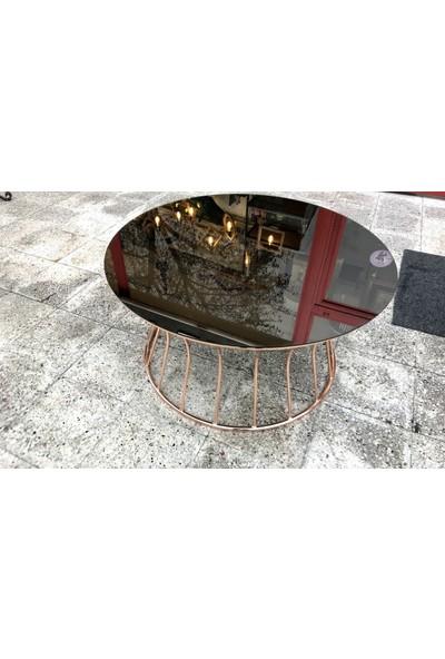Bengi Orta Sehpa metal bronzkapllm Temperli Cam