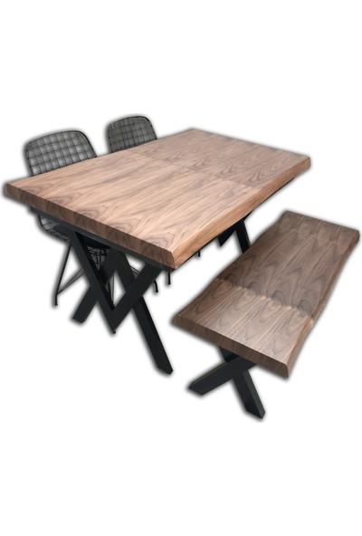 Bengi Mutfak Masa Takımı Kütük Doğal açılır Ceviz bencsandalye ve masa