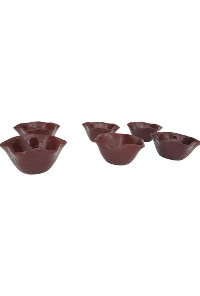 Keramika 1 Adet 11 cm Roma Model Kahverengi Çerezlik