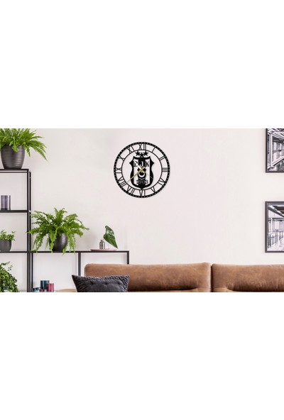 Metalium Concept Beşiktaş Logolu Metal Duvar Saati