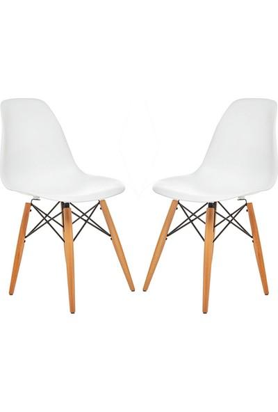 Mezura Ofis Eames Sandalye Beyaz 2'li