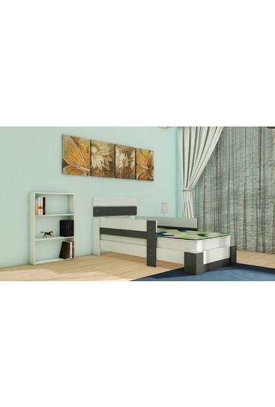 Nevramo Ortanca Montessori Karyola Beyaz Antrasit Gri 90 x 190 cm Yatağa Uyumlu