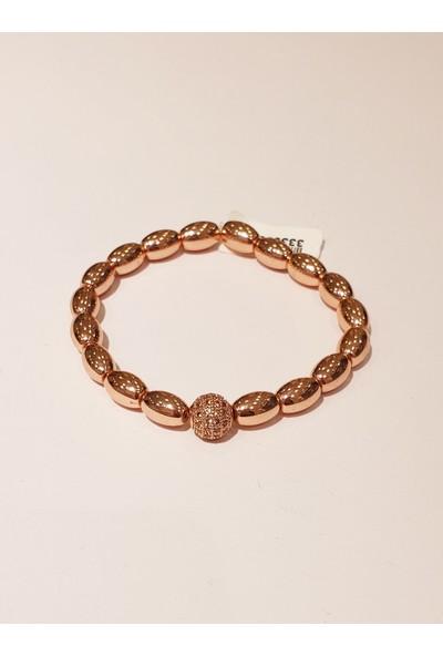 Hera 925 Ayar Gümüş Toplu Rose Hematit Taşlı Bileklik