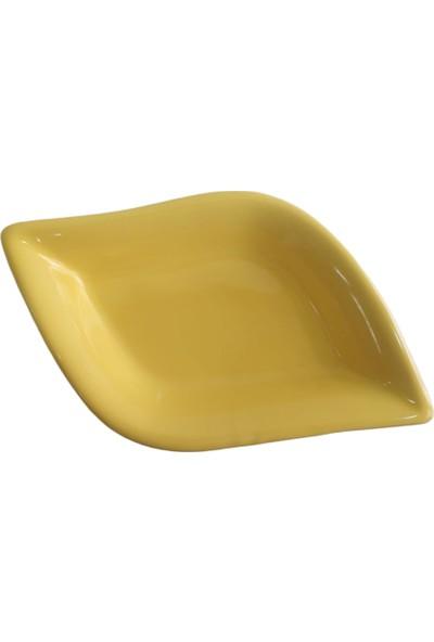 Keramika 1 Adet 19 cm Sarı Yaprak Model Seramik Çerezlik