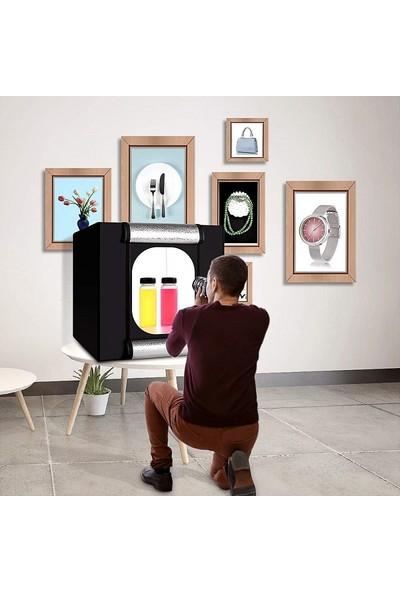 Triline 60 x 60 cm Profesyonel Stüdyo LED Işıklı Ürün Fotoğraf Çekim Çadırı