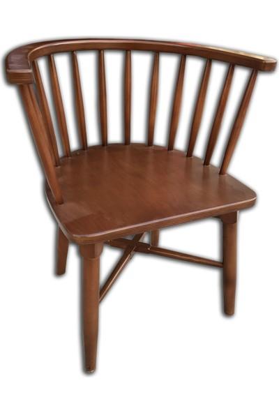 Bengi Sandalye Omurgalı Ahşap Gürgen Ceviz Renk
