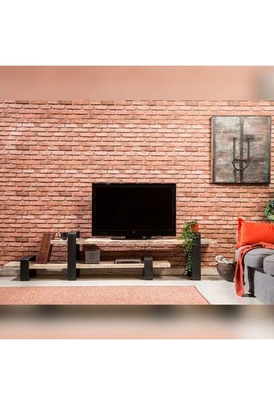 Doffo Sapella Doğal Ahşap Metal Ayak Tv Sehpası Tv Ünitesi