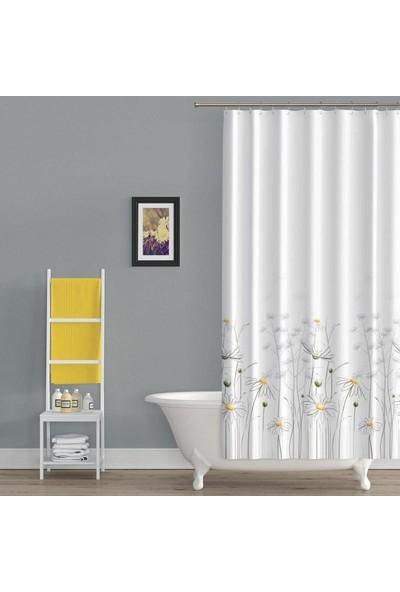 Prado Daisy Banyo Perdesi, Duş Perdesi Çift Kanat 120X200CM Askı Hediyeli