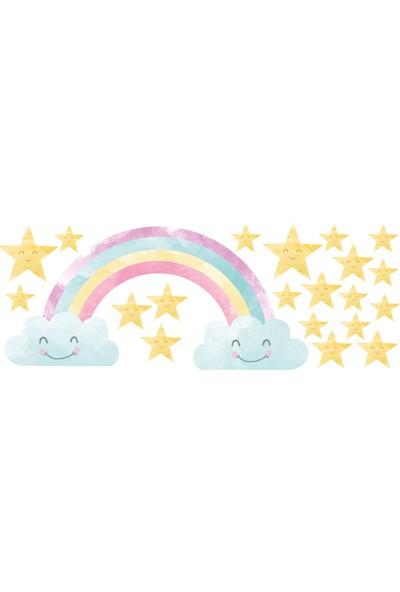 Sim Tasarım Gökkuşağı ve Yıldızlar Duvar Sticker Seti